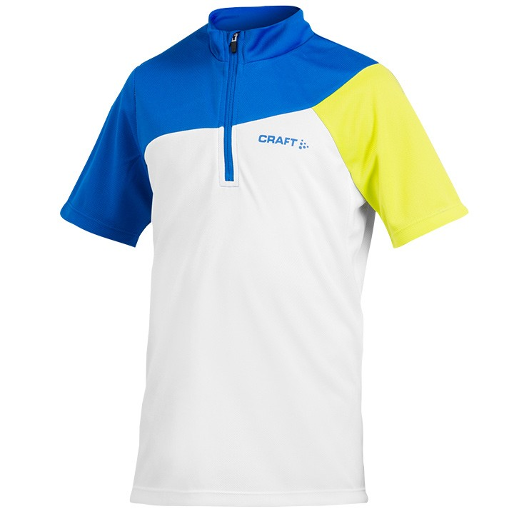 2019 Bikeshirt junior CRAFT Loosefit bianco-blu-verde
